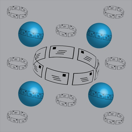 layered sphere: The ornament with envelopes Stock Photo
