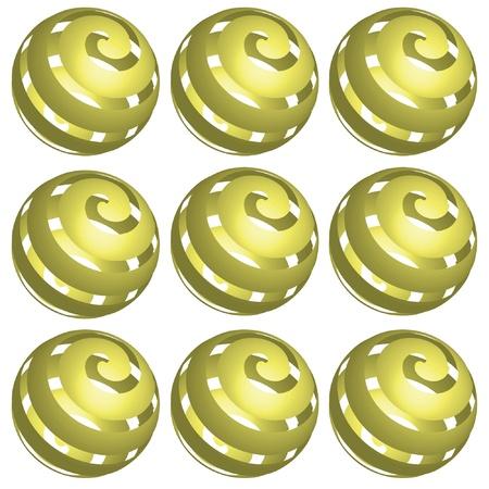 spares: Nine balls on the white background