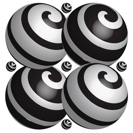 Black and white balls on the white background Stock Vector - 9346403