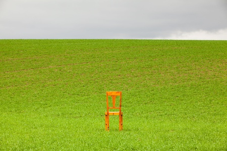 restless: The restless chair on the corn field Stock Photo