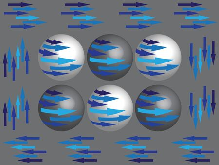 layered sphere: The symmetry spheres with blue arrows