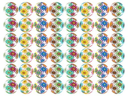 Glass spheres full of flowers Vector