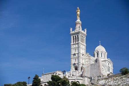Famous Notre-Dame-de-la-Garde on the hill in Marseille in France