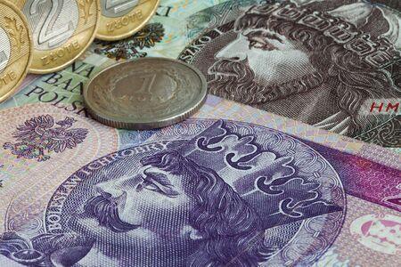 Old Polish zloty banknotes and coin