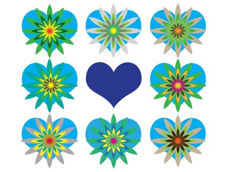 four leaved: The mosaic with different hearts with flowers