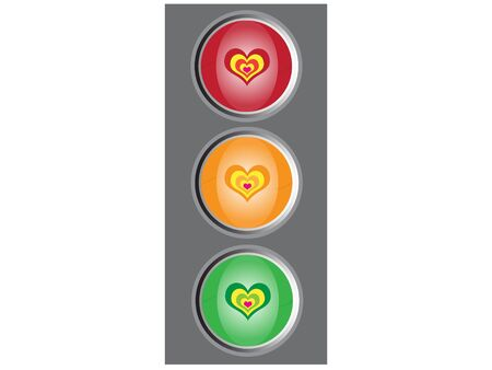 Traffic lights with hearts photo