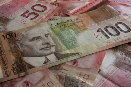 Background made of canadian money photo