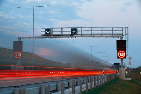 The light trails on the highway on Prague circle in Czech Republic photo