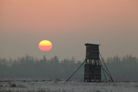 hunters tower: Hunters tower at sunset in winter