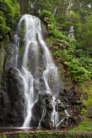 agriculture azores: Famous cascade at Sao Miguel Island Stock Photo