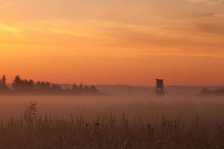 hunters tower: Hunters tower at sunrise in autumn