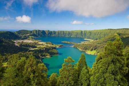 A typical lake on the island of Azores in Portugal photo