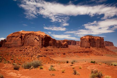 Peaks of rock formations in the Navajo Park of Monument Valley Utah  photo