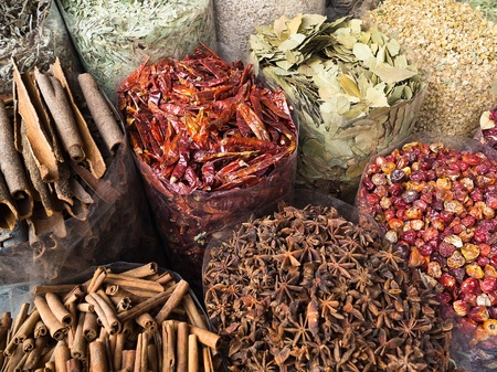 Dubai - dried herbs flowers spices in the street shop