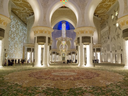 Famous Sheikh Zayed mosque in Abu Dhabi inside
