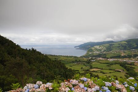 The dramatic coast on the Sao Miguel island, Azores photo