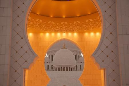 Detail of Abu Dhabi Sheikh Zayed White Mosque  Stock Photo