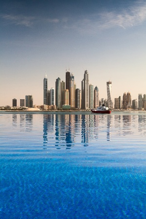 futuristic city: Reflection - The business district in Dubai