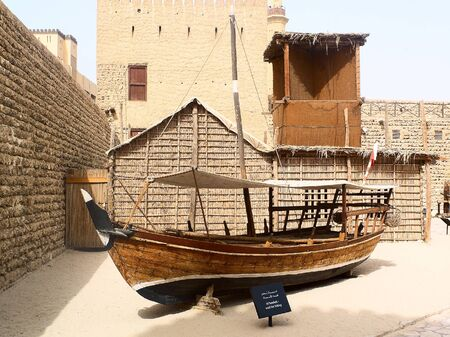 olden: Traditional wooden arabic ship at Abu Dhabi museum, United Arab Emirates