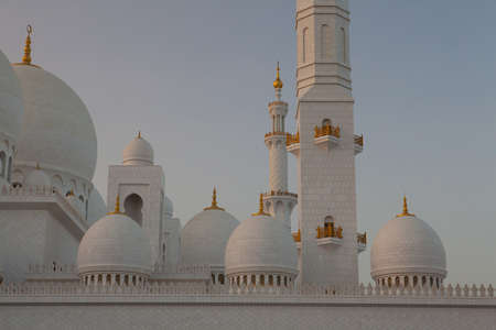Abu Dhabi Sheikh Zayed White Mosque at sunset Stock Photo - 12844823