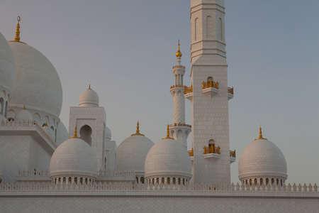 Abu Dhabi Sheikh Zayed White Mosque at sunset Stock Photo - 12844823