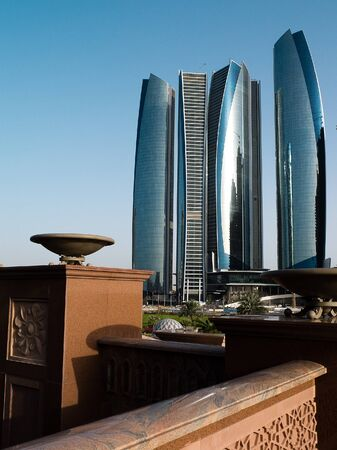 Skyscrapers in Abu Dhabi at dusk, United Arab Emirates Stock Photo - 12690589