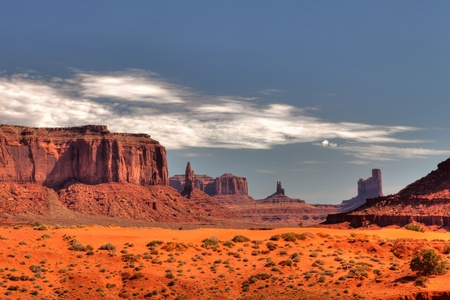 grand canyon: Peaks of rock formations in the Navajo Park of Monument Valley Utah