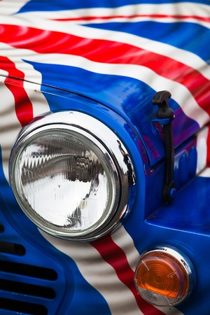 cooper: Detail of Classic Car Mini Cooper from Mini Run Show Editorial