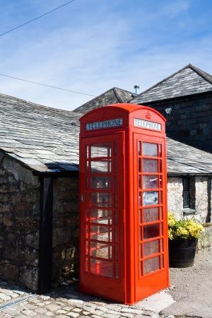 exmoor: Traditional red telephone box in Exmoor