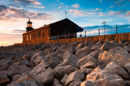 Lighthouse on the pier in Morecambe, Lancashire, England,  photo