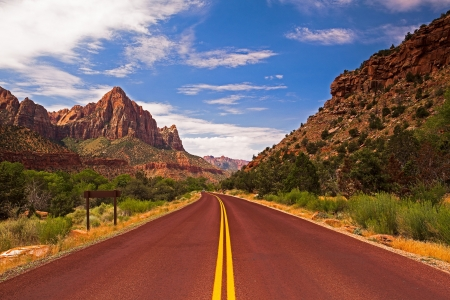 The road in Zion Canyon National Park, Utah