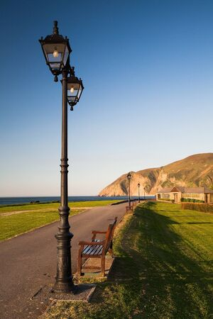 lynton: On the empty beach in Lynmouth in Great Britain
