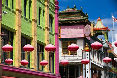 san francisco: Pink chinese lamps hanging on the street in China Town, San Francisco