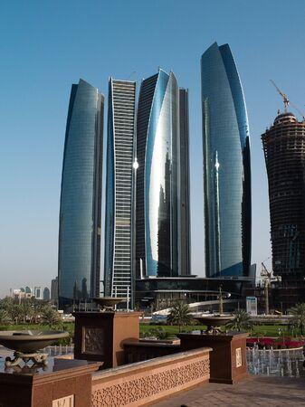 dubai mall: View of Abu Dhabi city at sunset, United Arab Emirates  Editorial