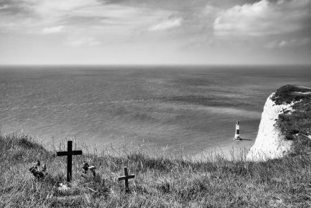 headland: Suicide memorials, Beachy Head, Sussex, England