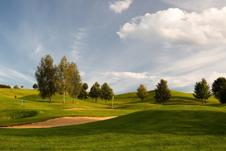 Sand bunkers on the golf course at sunset, Prague, Czech Republic photo