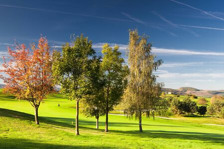 On the golf course in autumn in Czech republic photo