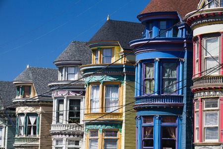 Detail of Victorian houses in San Francisco