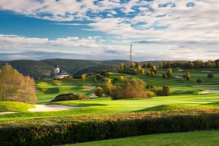 The golf course in Karlstejn in Czech Republic Stock Photo