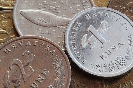 croatian: Kuna coins, Croatian money Stock Photo