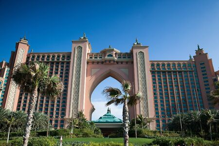 DUBAI, UAE - FEBRUARY 6: 5-star Hotel Atlantis (1,539 spacious guest rooms including 166 suites) on man-made island of Palm Jumeirah at February 6, 2012 in Dubai, United Arab Emirates
