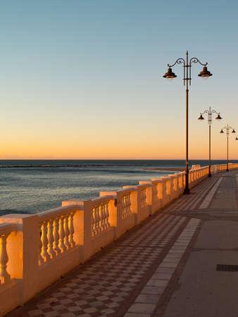 Empty promenade on Malaga beach in Spain