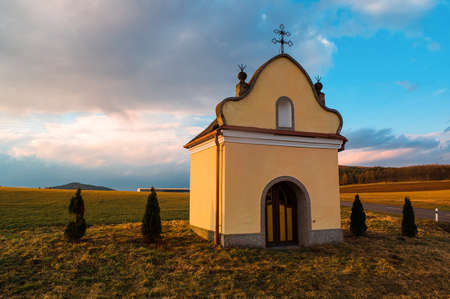 The typical small chapel near the villages in Czech Republic Stock Photo - 19221472