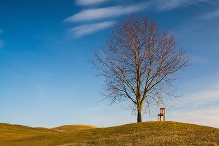 Lonely chair on the empty golf course in autumn Stock Photo - 19221485