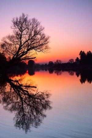 Autumn sunset on the Berounka river in Dobrichovice Stock Photo - 19627204