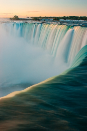 Horseshoe Falls closeup in the morning with mist - Niagara Falls in Canada