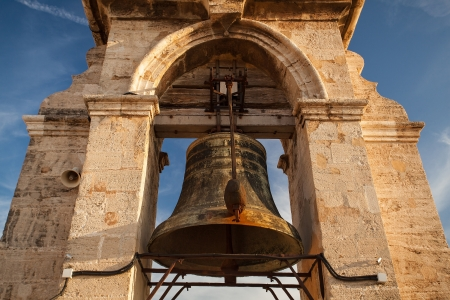 abbeys: Bell of the Micalet bell tower cathedral in Valencia, Spain  Stock Photo