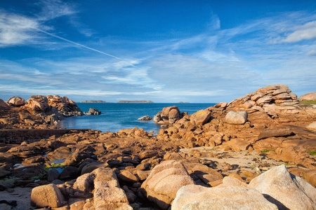 cote de granit rose: Cote De Granit Rose - impressive coast in Brittany Stock Photo