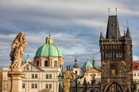 The famous towers on the Charles Bridge in Prague Stock Photo