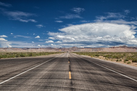Long american road in desert in Utah photo